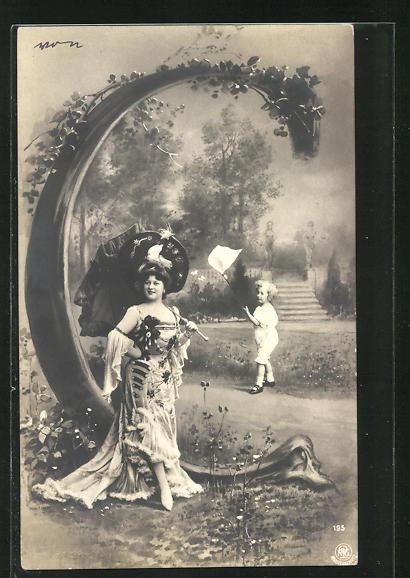 AK Buchstabe C, Kind mit Insektennetz und Dame mit Schirm, Montage