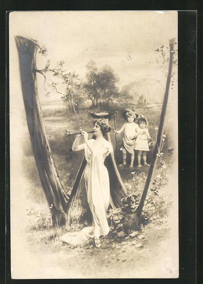 AK Buchstabe W, kleines Hirtenpaar und Flötenspielerin, Montage