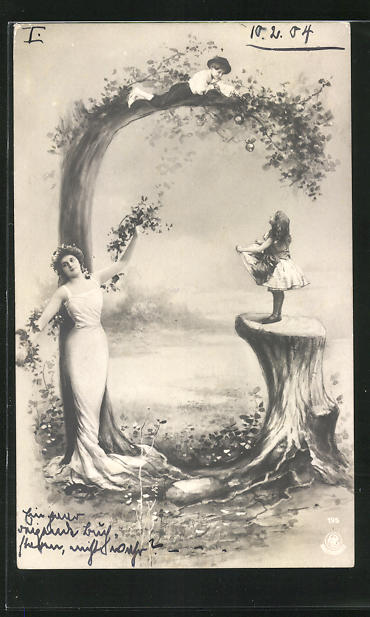 AK Buchstabe G, Kinder pflücken Äpfel und Maide mit Blumengirlande, Montage