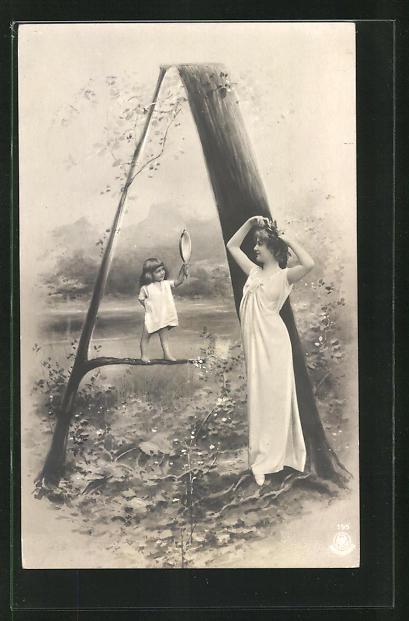 AK Buchstabe A, Kind hält holder Maid den Spiegel, Montage