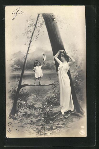 AK Buchstabe A, Kind mit Spiegel und holde Maid, Montage