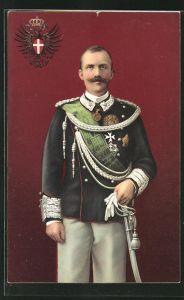 AK S. M. Il Re d`Italia in Uniform mit Wappen