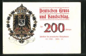 Lithographie Deutschen Gruss und Handschlag zur 200 jährigen Jubelfeier des preuss. Königshauses, 1701-1901