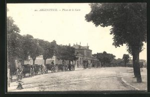 AK Argenteuil, Place de la Gare, Bahnhof