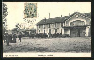 AK Corbeil, La gare, Kutschen vor dem Bahnhof