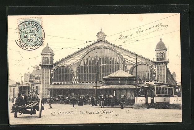 AK Le Havre, La Gare de Depart et Tramway, Anwohner vor dem Bahnhofsgebäude