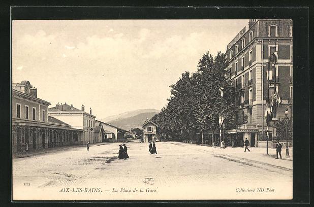 AK Aix-les-Bains, La Place de la Gare 0