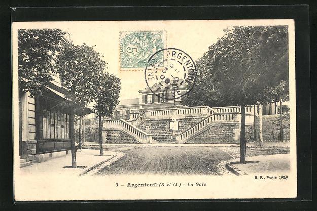 AK Argenteuil, La Gare, Bahnhof 0