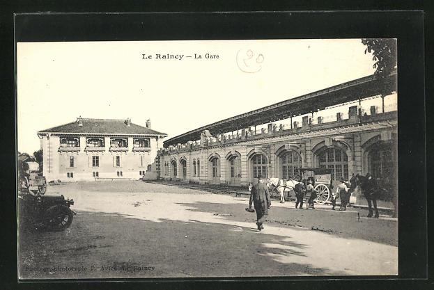 AK Le Raincy, La Gare, Bahnhof und Pferdekutschen 0