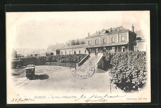 AK Elbeuf, La Gare d'Elbeuf-Ville et Tramway, Bahnhof 0