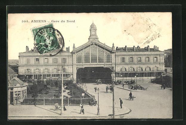 AK Amiens, Gare du Nord, Blick auf das Bahnhofsgebäude