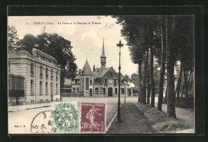 AK Senlis, La Gare et la Banque de France, Blick zum Bahnhof
