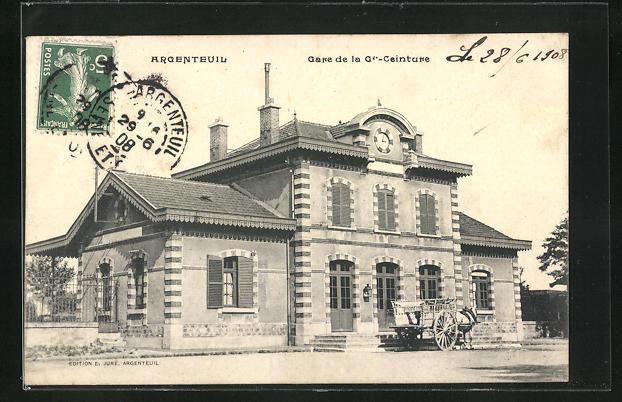 AK Argenteuil, Gare de la Gr.- Geinture, Bahnhof