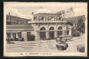 AK Gerardmer, La Gare de l` Est, Kraftfahrzeuge am Bahnhof