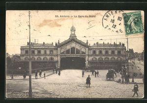 AK Amiens, La Gare du Nord, Platz vor dem Bahnhof
