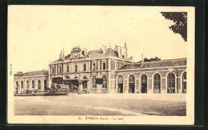AK Èvreux, La Gare, Blick zum Bahnhof