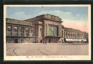 AK Mulhouse, La Gare, Blick zum Bahnhof