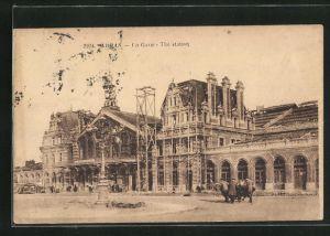 AK Arras, La Gare, Partie am Bahnhof