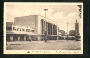 AK Le Havre, La Gare, Strassenbahn am Bahnhof