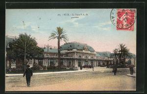 AK Nice, La Gare, Partie am Bahnhof