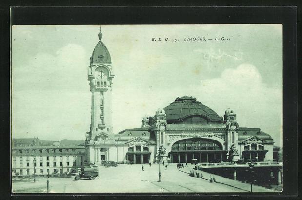 AK Limoges, la Gare, Blick zum Bahnhofsgebäude