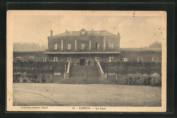 AK Elbeuf, La Gare, Blick zum Bahnhofsgebäude