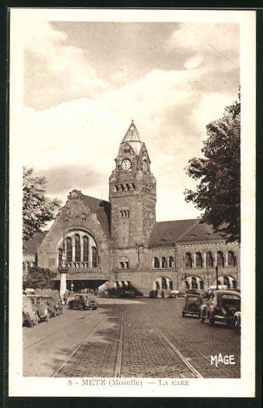 AK Metz, La Gare, Bahnhofsgebäude