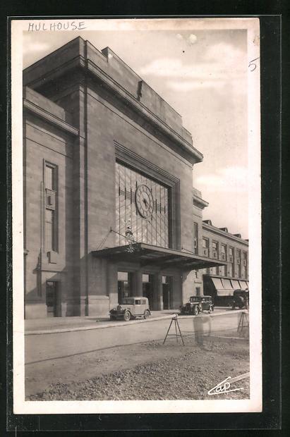 AK Mulhouse, Entree de la Gare, Bahnhofsgebäude