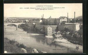 AK Ruoms, Brasserie Hugon et Payan et Brasserie Generale du Midi, Pont et Barrage sur l`Ardeche