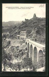 AK Saint-Julien-Boutieres, Ruines de l'ancien Chateau des Seigneurs et le Viaduc, Avenue de la Gare
