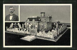 AK Thale a. Harz, Portrait Carl Goerecke, Miniaturwerk Villa in Burg