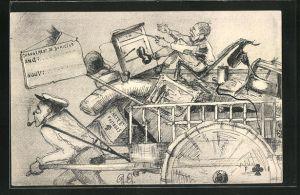 AK Mann zieht einen Umzugswagen mit Hausrat