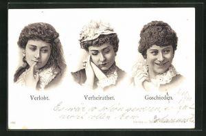 Lithographie Verlobt - Verheiratet - Geschieden, Scherz