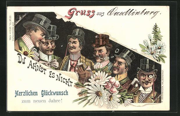 Lithographie Elegante Herren mit Zylinderhüten und Monokeln