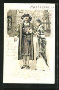 Präge-Lithographie Faust, Margarete 1, Mein schönes Fräulein...