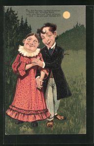 Präge-Lithographie Bei des Mondes sanftem Scheinen, flehe ich, o holde Maid..., Hochzeitsantrag
