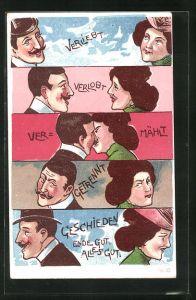 Lithographie Verliebt - Verlobt - Vermählt - Getrennt - Geschieden, Ende gut, alles gut, Scherz