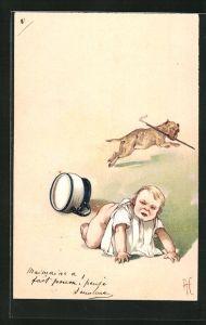 Präge-Lithographie Missmustiges Kind, umgestürzter Nachttopf und flüchtender Hund