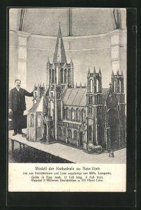 AK Modell der Kathedrale zu New-York aus Streichhölzern, angefertugt v. W. Lempertz