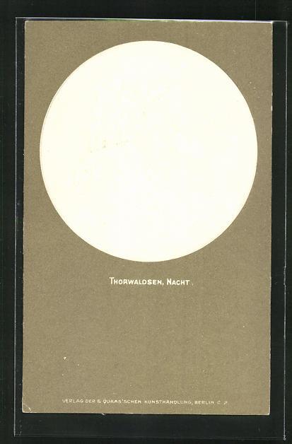Relief-AK Thorwaldsen, Nacht, Engel, Jugendstil