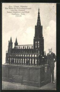 AK Das Ulmer Münster, Holzschnittkunst von Jos. Hampel 1925 /29