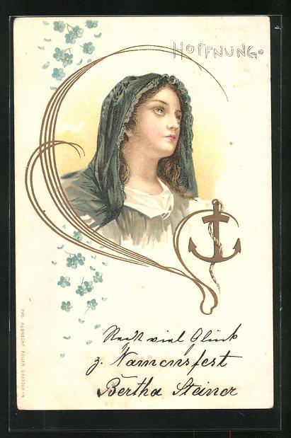 Lithographie Allegorie Hoffnung, Frauenbildnis, Jugendstil