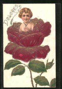 Präge-AK Kind wächst aus einer Rose