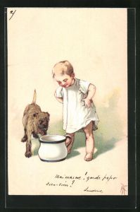 AK Toilettenhumor, Knabe mit Hund blicken in den Nachtopf