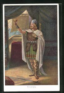 AK Tristan und Isolde, Tristan hebt seinen Becher