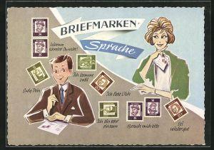 AK Erklärung der Briefmarkensprache für Verliebte