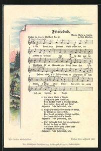 Lied-AK Anton Günther Nr. 36: Lied in erzgeb. Mundart Feierobnd, Wanderer im Abendrot