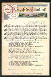 Lied-AK Anton Günther Nr. 47: Lied in erzgeb. Mundart Vergass dei Hamit net!, Erzgebirgische Landschaft