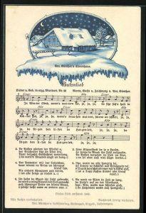 Lied-AK Anton Günther Nr. 22: Lied in erzgeb. Mundart Butznlied, A. Günther`s Elternhaus im Winter
