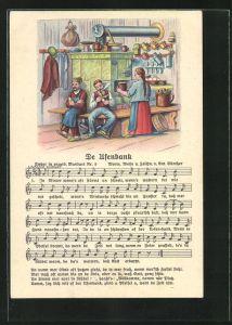 Lied-AK Anton Günther Nr. 9: Lied in erzgeb. Mundart De Ufenbank